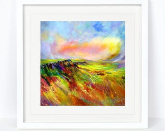 Curbar Edge - Derbyshire Landscape Print. Printed from an Original Sheila Gill Watercolour. Fine Art, Giclee Print, Hand Painted, Home Decor