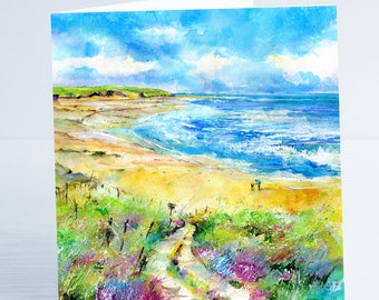 Walk on the Beach Cornwall - Greeting Card by Sheila Gill