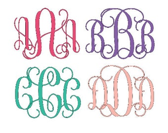 SVG Interlocking Vine Monogram Font, SVG Script Cursive font, Monogram for SVG only instant download design