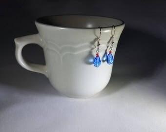 Sapphire Blue and Red Czech Glass Teardrop Dangle Earnings