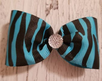 Black and Teal Zebra print Bow on French barrette