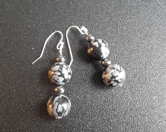 Sterling Silver Snowflake Obsidian and Hematite Earrings