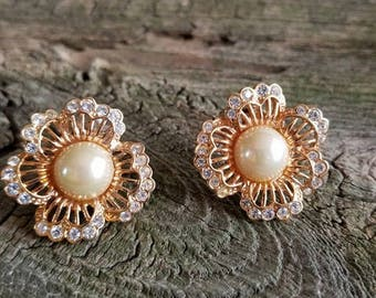 Vintage Clip on Earrings Flower design, Faux Pearl and Crystal Encrusted Flower Clip on Earrings