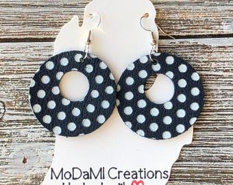 Leather earrings, handmade earrings, genuine leather, nickle free, circle earrings, navy, white, polka dot, dangle earrings, lightweight