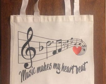 Personalized Canvas Music Tote Bag