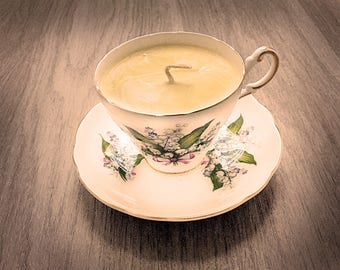 Teacup Candle - Vintage Regency China Cup with Lily of the Valley design and Meyer Lemon Scented Soy Wax Candle