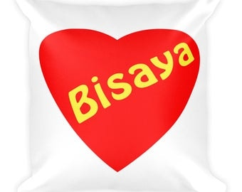 Bisaya Love Heart Square Pillow Valentine Pinoy Filipino Home Bed