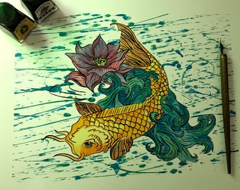 Pen and Ink Coy Carp Illustration Print
