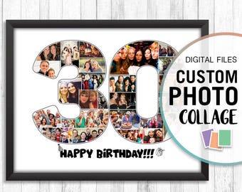 30 Anniversary Gift, Thirty Birthday Gift, Anniversary Collage, Anniversary Photo Gift, Anniversary Photo Collage 30, Custom Photo Collage
