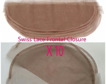 10 Swiss Lace Full Frontal Closures For Remy Brazilian Virgin Hair Wig Ventilating Topper Bangs Toupee Making