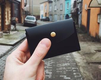 Leather cardholder, credit cardholder, black cardholder, minimal cardholder