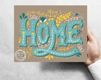 """Home """"teal"""", 7""""x9"""" Metal Wreath Signs W#3T"""