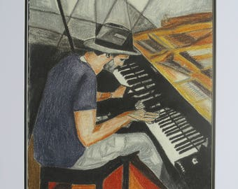 The Pianist Cubist Charcoal and Graphite Sticks