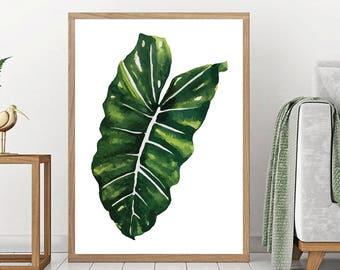 Monstera Print - Botanical Wall Art, Digital Art, Leaf Printable, Green Plant Print, Minimalist Poster, Scandinavian Wall Art, Monstera Leaf