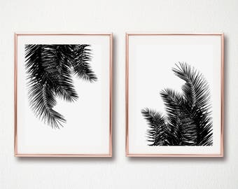 set of 2 palm leaves