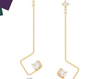 Losange shaped earrings with zircon