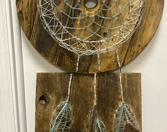 Rustic Dream Catcher Wall Art made from repurposed wood