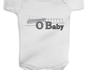 Ocean Beach OB Baby one piece body suit that says OBaby