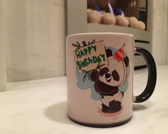 Happy Birthday Panda Magic Colour Changing Mug