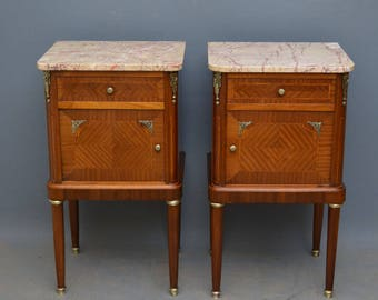K0252 Pair of antique bedside cabinets in mahogany