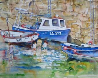 Mousehole Harbour Boats Original Watercolour