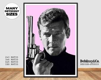 James Bond poster James Bond print Roger Moore James Bond 007 Print Roger Moore poster James Bond art Roger Moore poster 007 poster