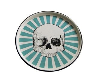 "Enamel Skull Tray Mexican Original Art Work Contemporary Design ""Craneo Color"""