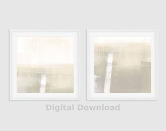 Neutral Wall Art, Set of 2 Prints, Abstract Art, Geometric Print Set, Minimalist Art, Abstract Print Set, Cream & Taupe Wall Art Set