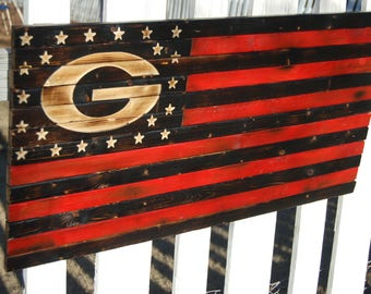 Rustic Georgia Bulldog Flag