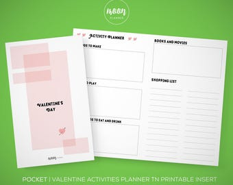 Pocket Size | Valentine's Day Planning TN Printable Insert Planner - To do, Purchases, Traveler's Notebook, Foxy Fix 2 - INSTANT DOWNLOAD!