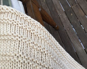 """Hand knitted """"wheat"""" coloured super soft woolen bed or couch throw rug."""