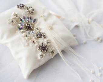 Rhinestone ring pillow/ Ivoiry ring pillow / Ring bearer pillow/ Bridal gift/ Swarovski crystals ring pillow/ Ivory ring bearer/Ring holder