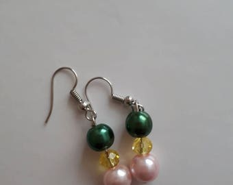 Drop earrings, glass pearl, gifts for her, green and silver, gifts,dangle earrings, beaded jewellery, jewelry, dangle and drop earrings