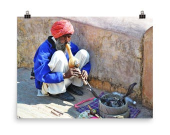 India Photography, India Wall Art, Snake Charmer Photo, Indian Print