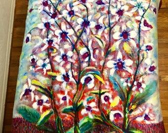 Dancing Orchids Sherpa Fleece Blanket