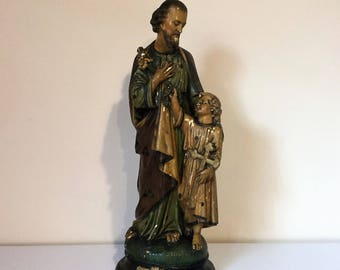 Religious statue of Saint Joseph and baby Jesus
