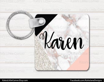 Monogram Keychain, Personalized Keychain, Square Keychain, Bag Tags, Marble Keychain, Luggage Tag, Bag Tag, Sweet Sixteen Gift
