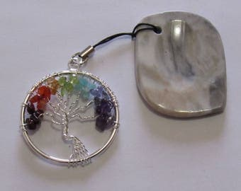 """Unique Worry Stone with attached Tree of Life Pendant, Stone is 1 7/8"""" X 1 3/8"""" and Tree of Life is 1 1/2"""" in diameter.  Pendant."""