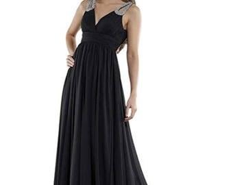 Evening gown of Consuello, V-neck black size 32, 34
