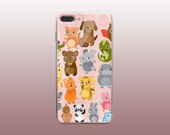 Animal Clear TPU Phone Case for iPhone 8- iPhone 8 Plus - iPhone X - iPhone 7 Plus-iPhone 7-iPhone 6-iPhone 6S-Samsung S8