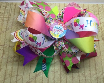 Handmade Boutique stacked hair bow Happy Birthday 5""