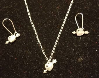 "Boutique...Order Now for Valentine... Silver Alloy Arrow Charm Heart 18"" Silver Coated Necklace with Matching Earrings Set"
