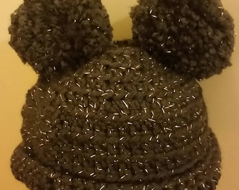 Sparkly Pom Pom Beanie for 12-18 month