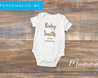 Pregnancy Announcement, New Baby Bodysuit, Personalised Baby Onesie