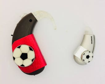 Jewelry for devices hearing cochlear 'Football Soccer.