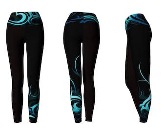 Hawaiian Wave Pattern Long Yoga Leggings - 2 Bands Available