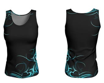 Wave Pattern Fitted Tank Top - 2 Lengths Available