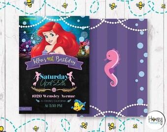Little Mermaid Girly Birthday Invite