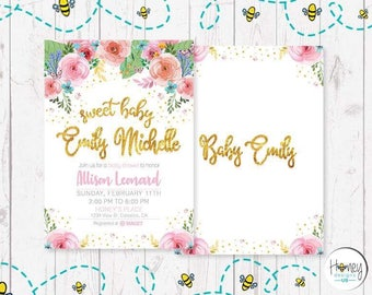 Babyshower, flowers, girl, new born, mother to be, love, invite, digital, celebration, gold letters.