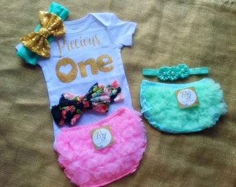 Free shipping to US and PR,One year baby,First year birthday,Birthday girl,Birthday princess,Gold birthday girl,Bloomer pink,Bloomer aqua